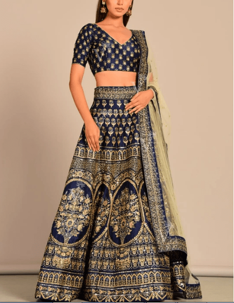 Blue Silk Pearl Brush Lehenga Set Price in India