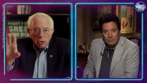 Jovan's brain had grabbed hold of an interview of Bernie Sanders on The Late-Night Show with Jimmy Fallon