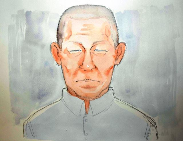 初公判に出廷した内間利幸被告=福岡地裁小倉支部、イラスト・船田倫子