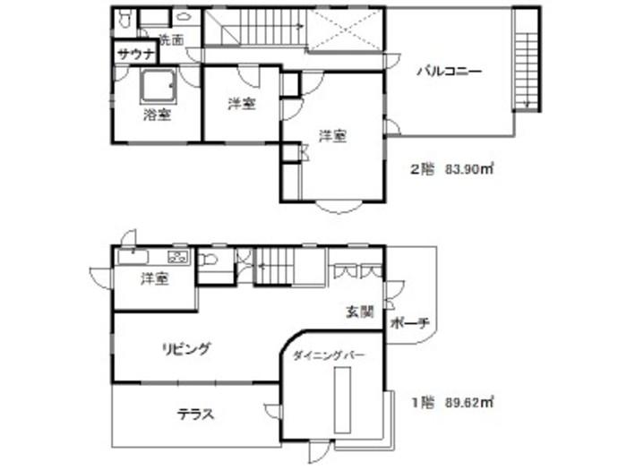 【画像出典:http://www.uptown-izu.com】間取り図