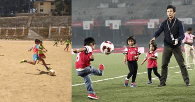 बच्चों को ट्रेनिंग देते बाईचुंग भूटिया
