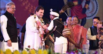 छत्तीसगढ़ दौरे पर गए राहुल गांधी का रायपुर में नया अंदाज दिखा।