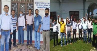 चंपावत: स्वजल कर्मचारियों का प्रदर्शन, काला फीता बांधकर जताया विरोध