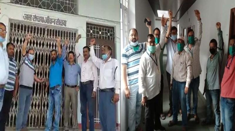 चंपावत में स्वजल कर्मचारियों का प्रदर्शन जारी, मांगे ना मानने पर दी आंदोलन की चेतावनी