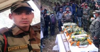 रुद्रप्रयाग:सैन्य सम्मान के साथ किया जवान अरविन्द नेगी का अंतिम संस्कार, अंतिम यात्रा में उमड़ा जनसैलाब