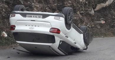 टिहरी गढ़वाल में नगुण-सुवाखोली रोड पर बेकाबू होकर कार पलट गई। हादसे में 2 लोग घायल हो गए।