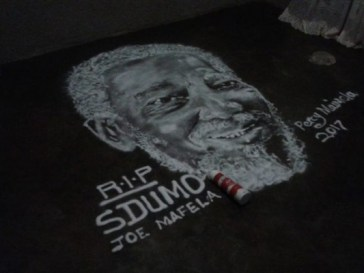 A tribute to Joe Mafela in salt drawing