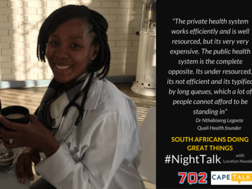 Dr Nthabiseng Legoete, Founder and CEO at Quali Health.