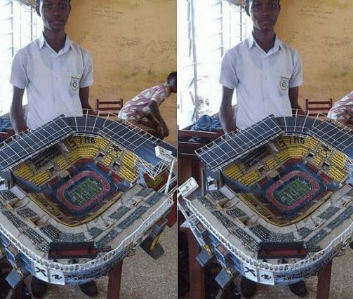 student builds barca stadium