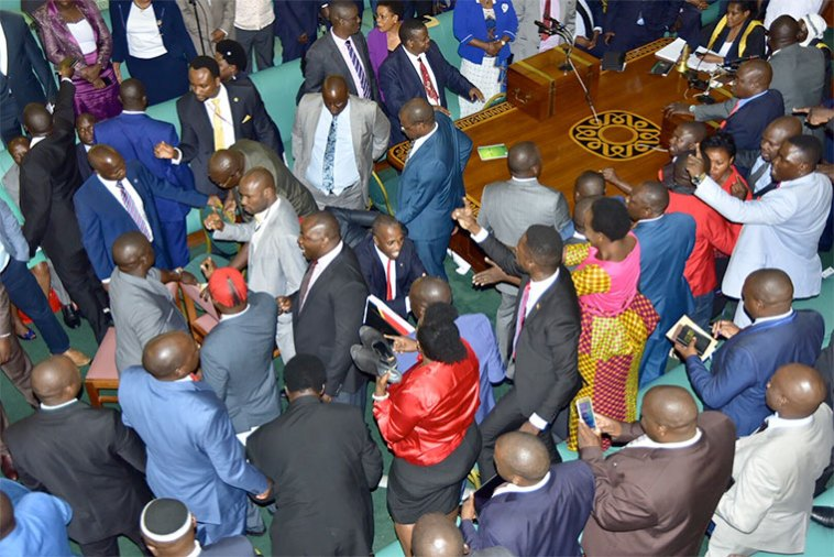 VIDEO: Drama In Ugandan Parliament As MPs Exchange Blows Over Age Limit Bill