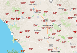 Record Heat – 101 in Santa Rosa – Slow Cooling Coming
