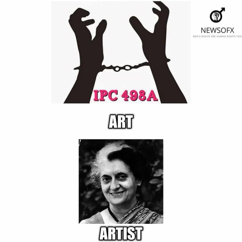 indira gandhi ipc 498a art artist meme