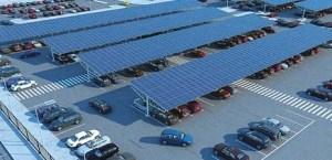 zonnepanelen boven parkeerterrein levert energiebesparing op