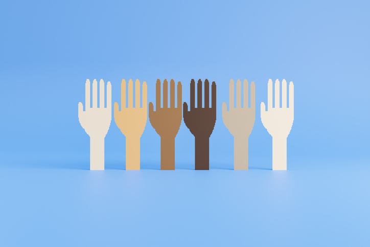 Row of raised hand symbols of various races. Flat computer graphic on blue background.