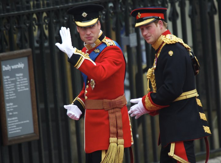 Prince William and Prince Harry arrive at Westminster Abbey on April 29, 2011.