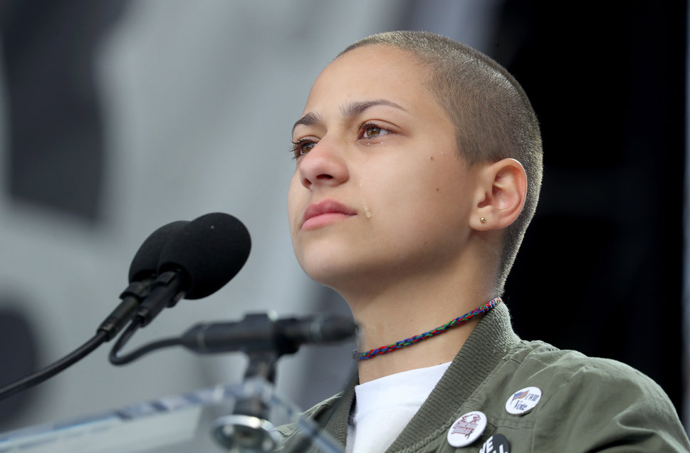 Emma Gonzalez calls for stricter gun control during the March for Our Lives in Washington, D.C, March 24. She showed how