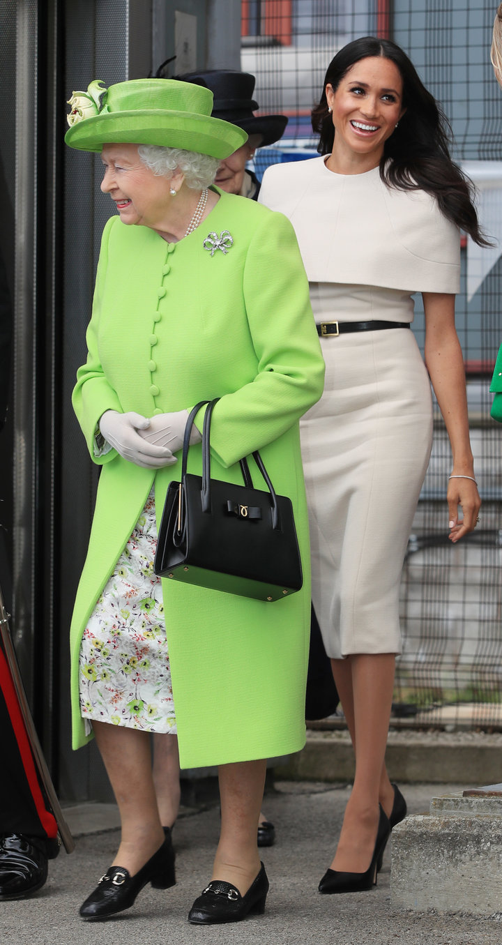 The former Meghan Markle and Queen Elizabeth II.