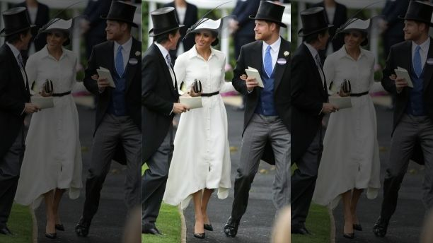 Britain's Prince Harry and Meghan, Duchess of Sussex, arrive on the first day of the Royal Ascot horse race meeting in Ascot, England, Tuesday, June 19, 2018. (AP Photo/Tim Ireland)