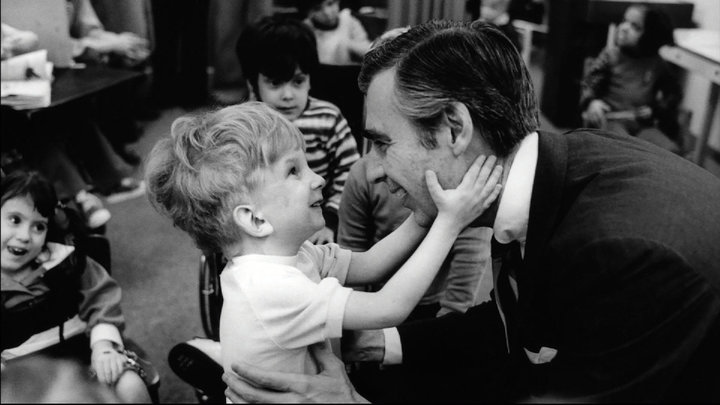 "Fred Rogers, seen in the show ""Mister Rogers' Neighborhood."""