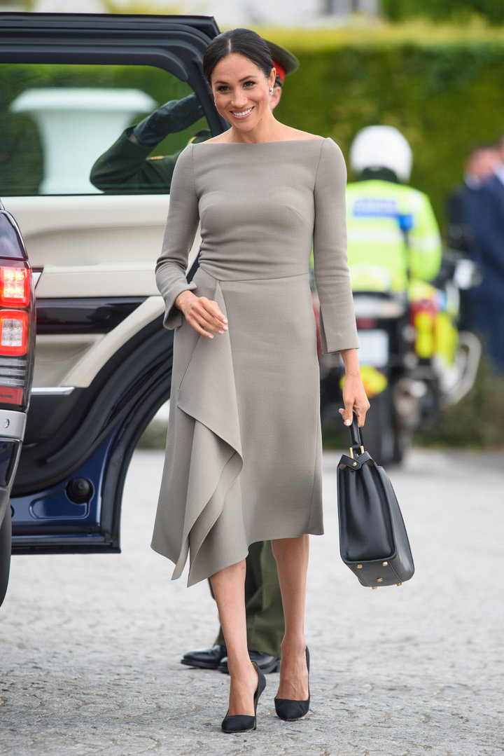The Duchess of Sussex in a Roland Mouret for her meeting with the president of Ireland, Michael Higgins, at Aras an Uach