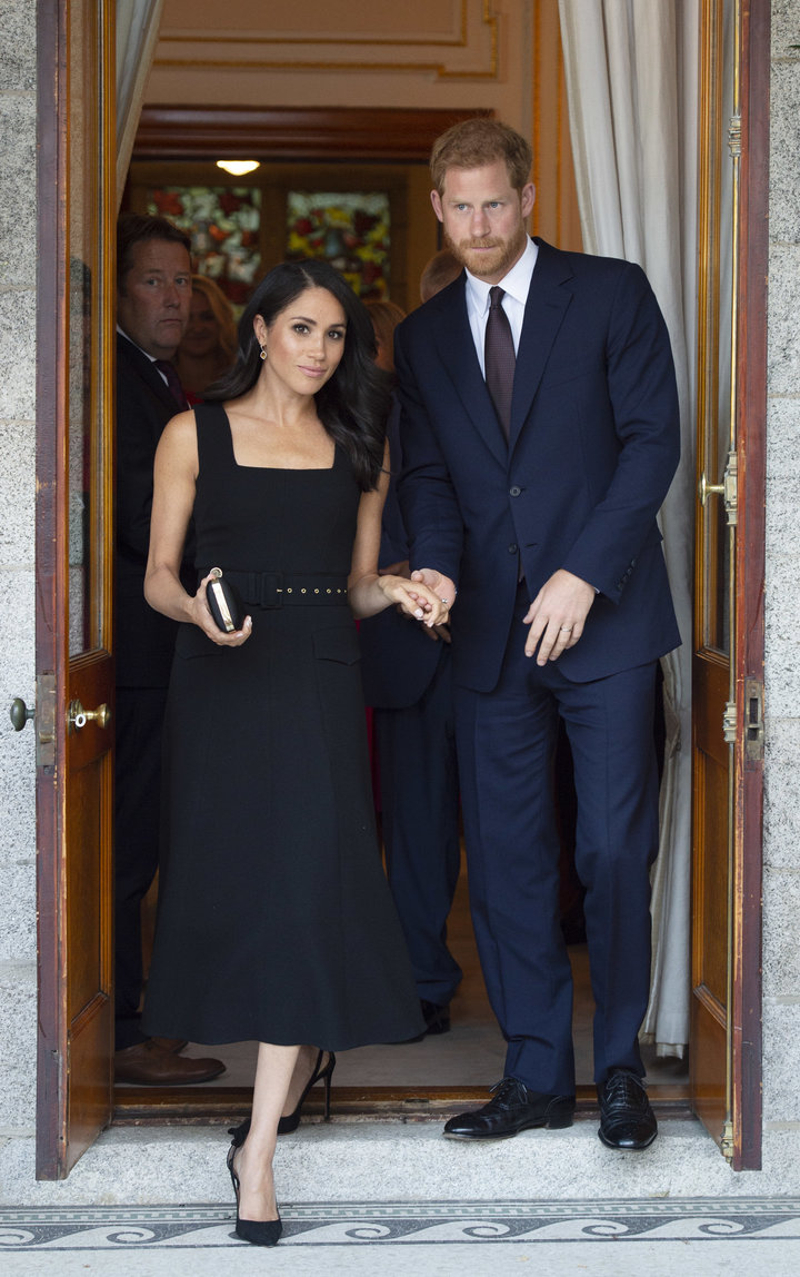 The Duke and Duchess of Sussex attend a reception at Glencairn, the residence of Robin Barnett, the British Ambassador to Ire