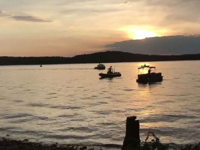 PHOTO: A handout frame grab made available by the Southern Stone County Fire Protection District shows responding agencies after an amphibious duck boat reportedly capsized on Table Rock Lake in Branson, Mo., July 19, 2018.