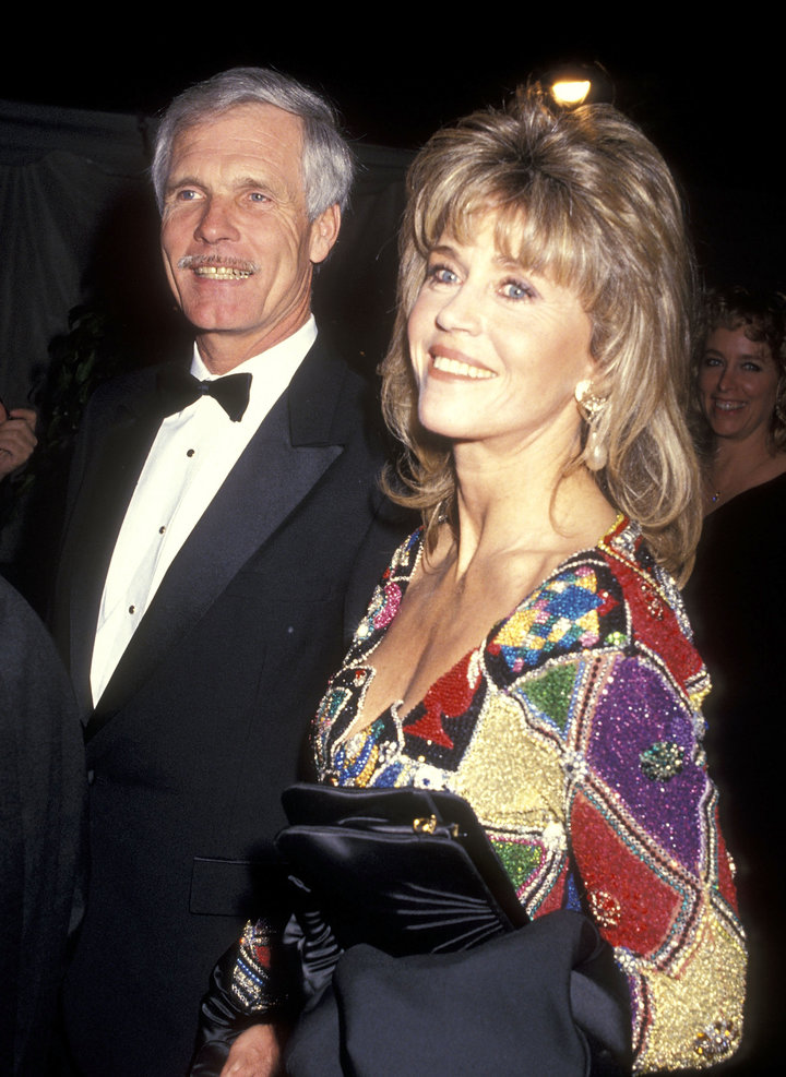 Businessman Ted Turner and Fonda attend the 12th Annual National CableACE Awards on Jan. 13, 1991, in Los Angeles, California