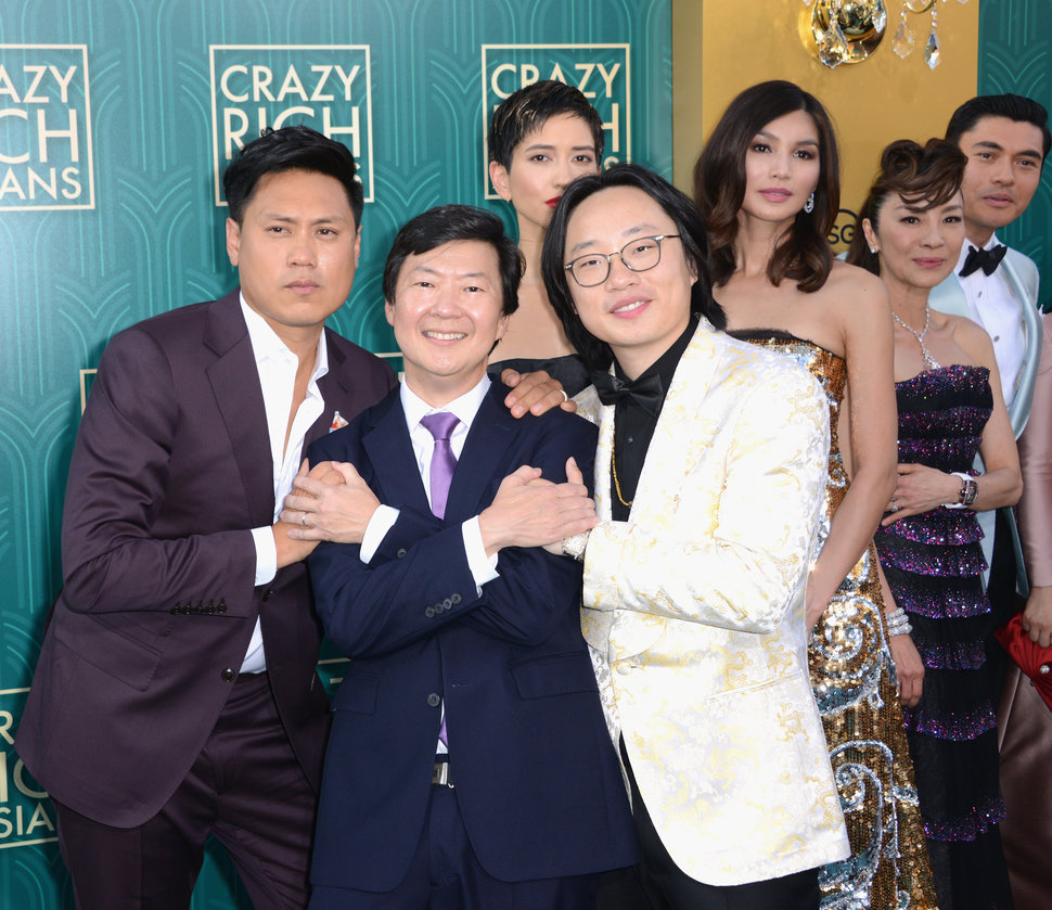 "At the ""Crazy Rich Asians"" premiere in Hollywood, Chu (far left) poses with actors Ken Jeong, Sonoya Mizuno, Jimmy O. Yang, G"