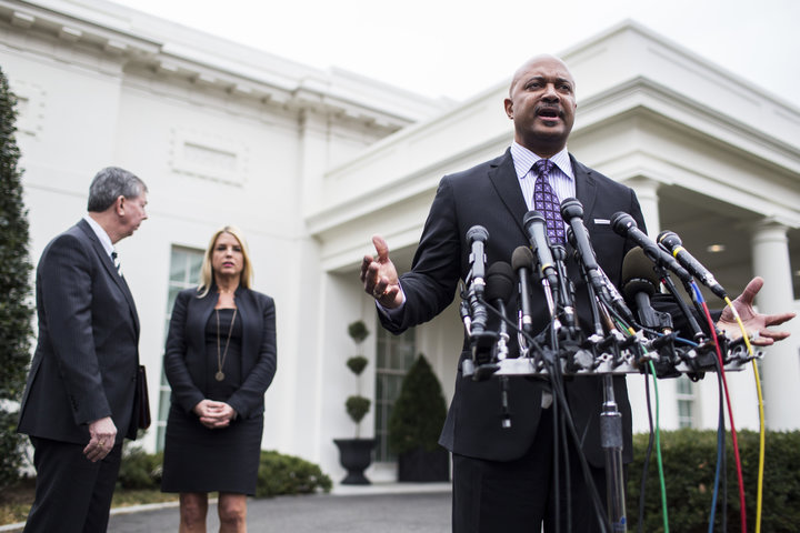 Indiana Attorney General Curtis Hill (R), seen here at a February press conference, is making a last-minute effort to block t