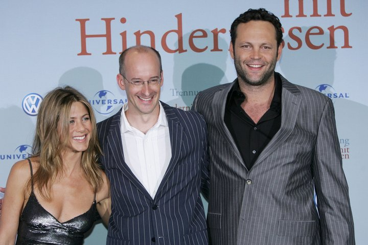 "(From left) Jennifer Aniston, Peyton Reed and Vince Vaughn at a screening of ""The Break-Up"" in 2006 in Hambu"