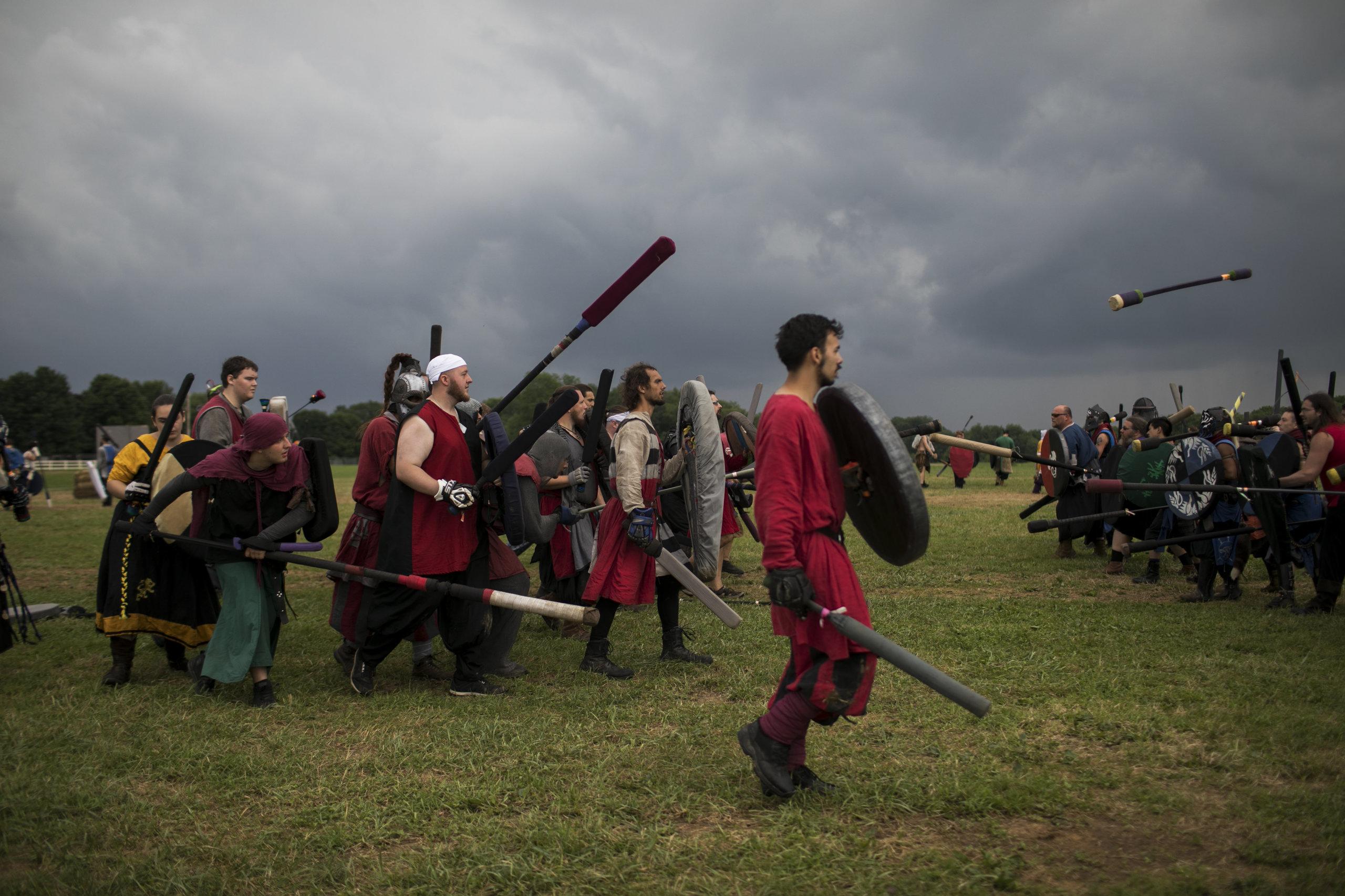 Dagorhirrim battle at Ragnarok, an annual live action roleplay battle in Slippery Rock, Pennsylvania.