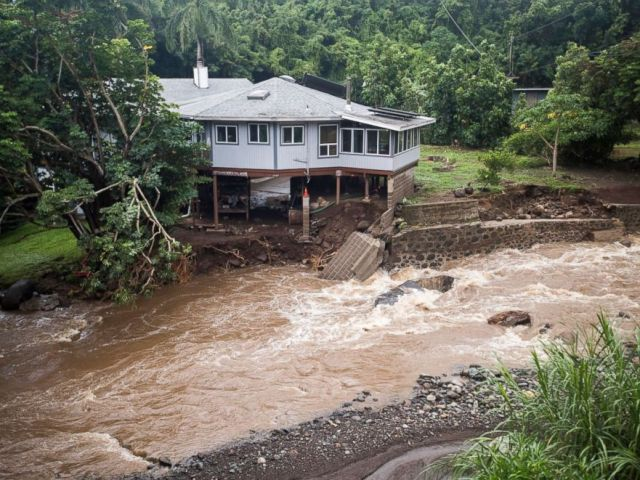 PHOTO: A home on Kahekili Highway near the Waihee River Bridge, was evacuated after a flash flood breached the property, Sept. 12, 2018, in Maui, Hawaii.