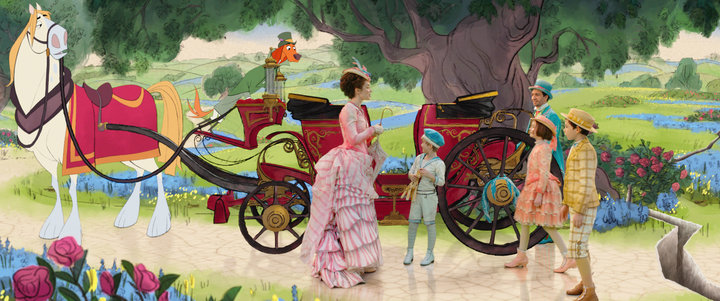 """Emily Blunt and the hand-drawn animation in """"Mary Poppins Returns."""""""