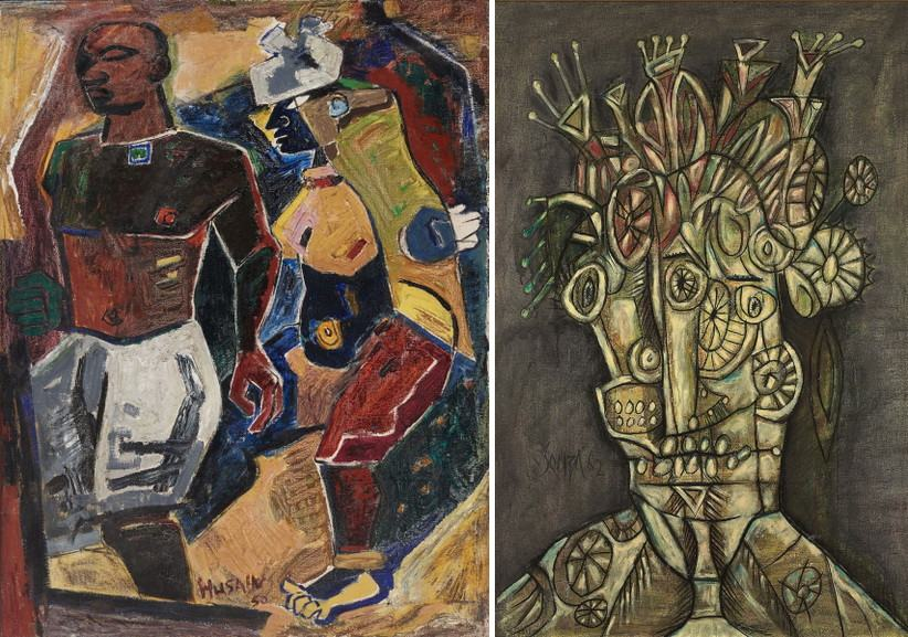Left M F Husain - Peasant Couple Right F N Souza - Untitled