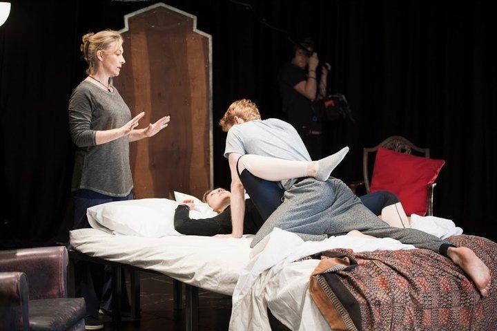 Actors participate in Ita O'Brien's intimacy workshop.