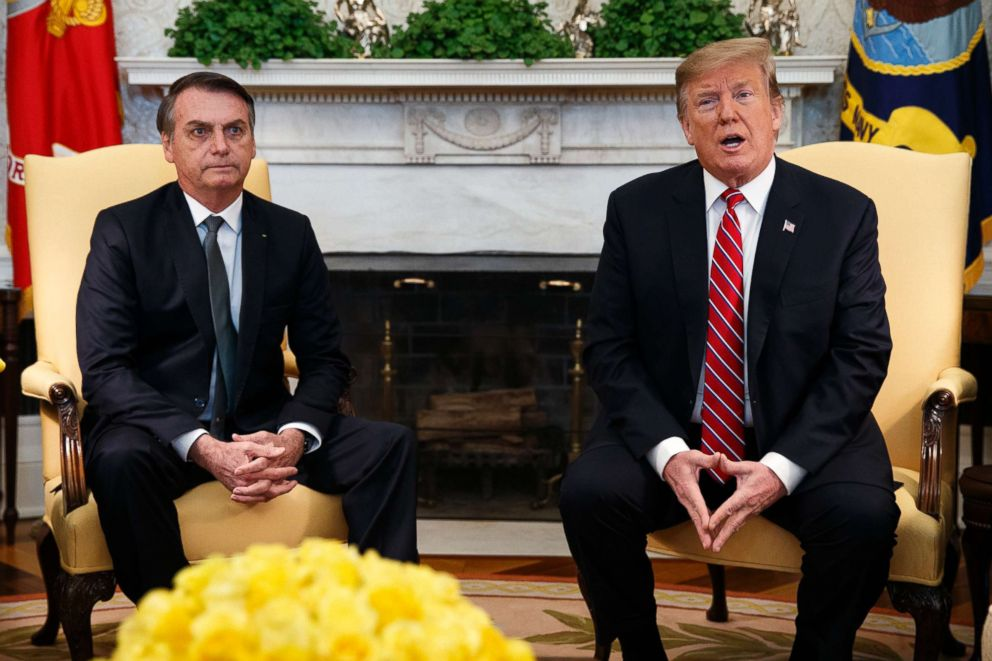 President Donald Trump speaks during a meeting with Brazilian President Jair Bolsonaro in the Oval Office of the White House, March 19, 2019.