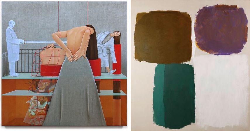 Arghavan Khosravi - The Glass Ceiling of the Underground World, 2018, Ray Parker - For Denise #394; Like you like it Denise, 1960.