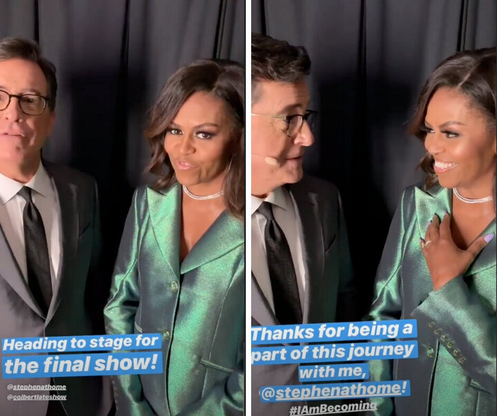Stephen Colbert and Michelle Obama speaking before the final stop on her book tour.