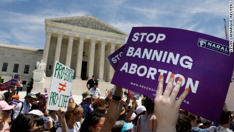 Abortion rights activists rally outside the U.S. Supreme Court on May 21, 2019.