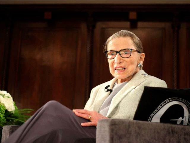 PHOTO: Supreme Court Justice Ruth Bader Ginsburg sits onstage as a speaker of the David Berg Distinguished Speakers Series held at the New York Academy of Medicine, Dec. 15, 2018, in New York.