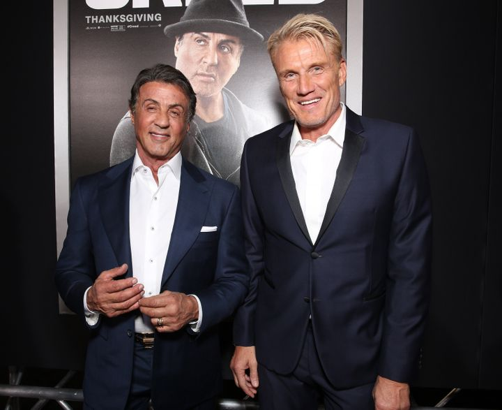 """Stallone and Lundgren attend the premiere of """"Creed"""" in 2015."""