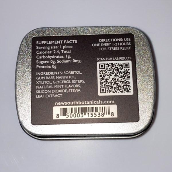 cbd chewing gum back label