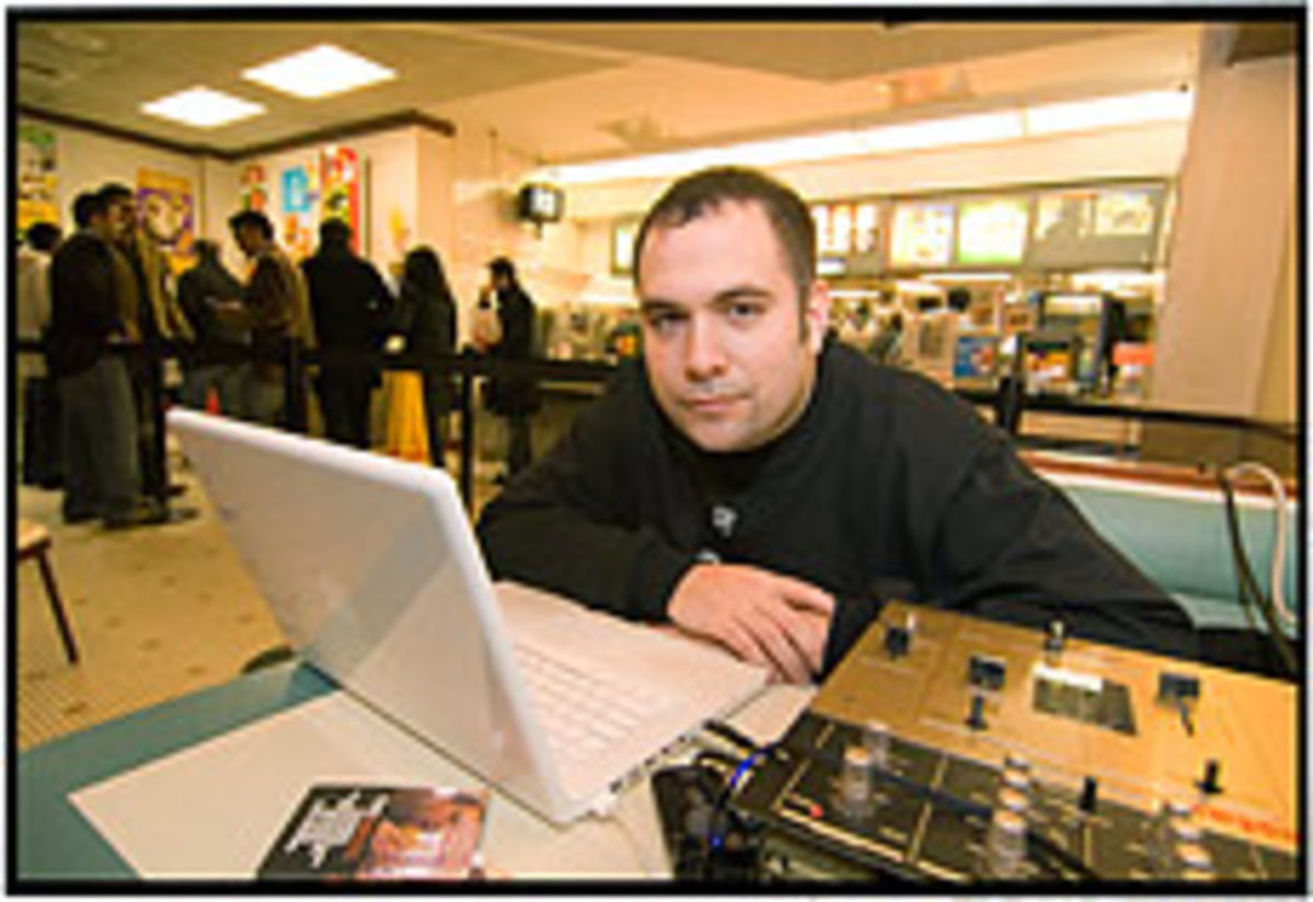 Late Night Special: Rosenberg at work in his DJ booth at McDonalds.