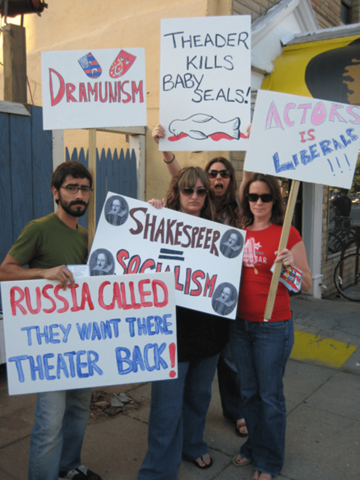 "Cast members of DC Theatre Collective's ""Tea Party Project"" protest last Thursday's preview at Fort Fringe."