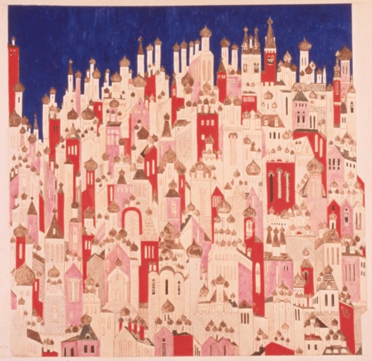 File Name: 3413-056.jpg Natalia Goncharova Design for the back cloth for the final Coronation scene from The Firebird, 1926 watercolor, gouache, gold and silver on card framed: 90 x 90 cm (35 7/16 x 35 7/16 in.) V&A, London