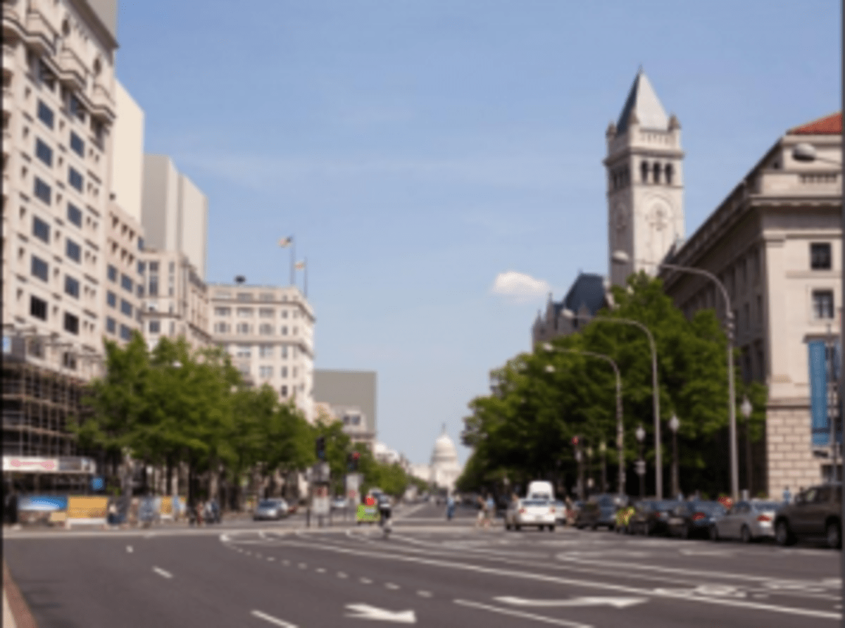 A rendering of Pennsylvania Avenue with 200-foot buildings.