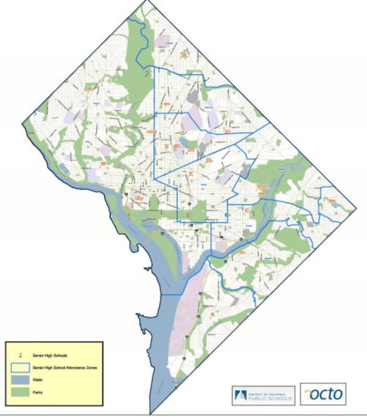 The existing high school boundaries.