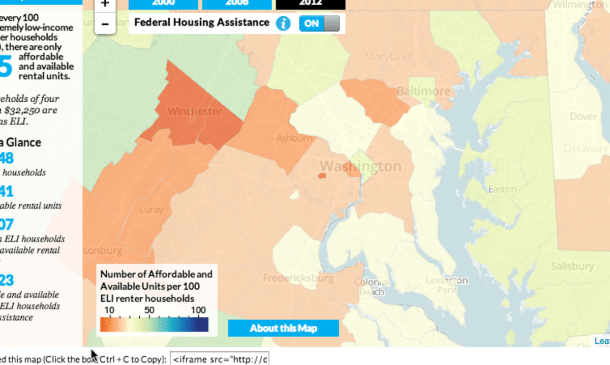 Compared to surrounding counties, D.C. actually has a relatively high supply of affordable housing for very low-income households.