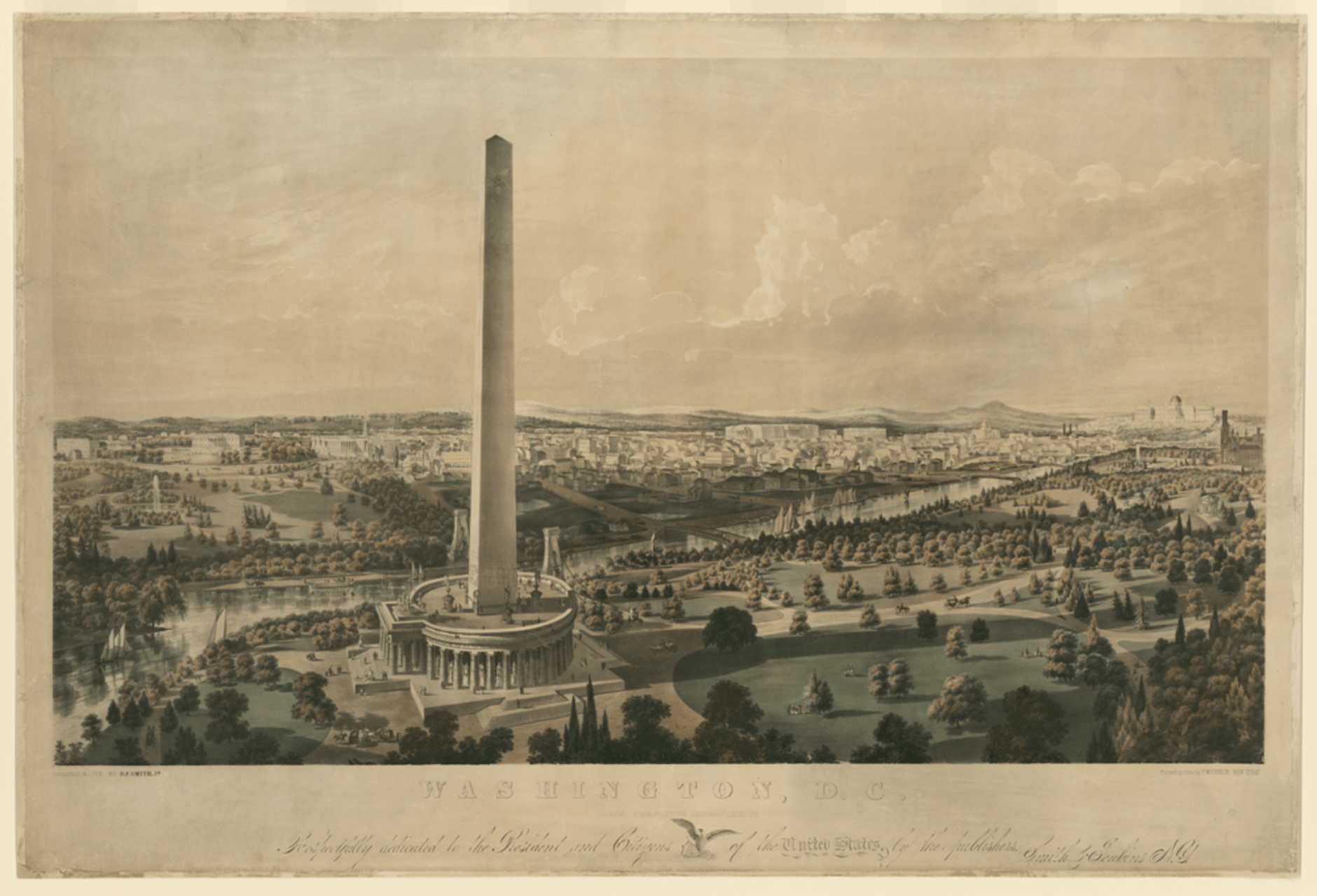 Projected improvements to the Washington Monument and National Mall by B.F. Smith, 1852. This image shows a variation on the circular colonnade that was part of the original design for the Washington Monument, but was never executed. It also shows a proposed suspension bridge across the canal adjacent to the Mall. Credit: Library of Congress, Prints and Photographs Division, LC-DIG-ppmsca-31534