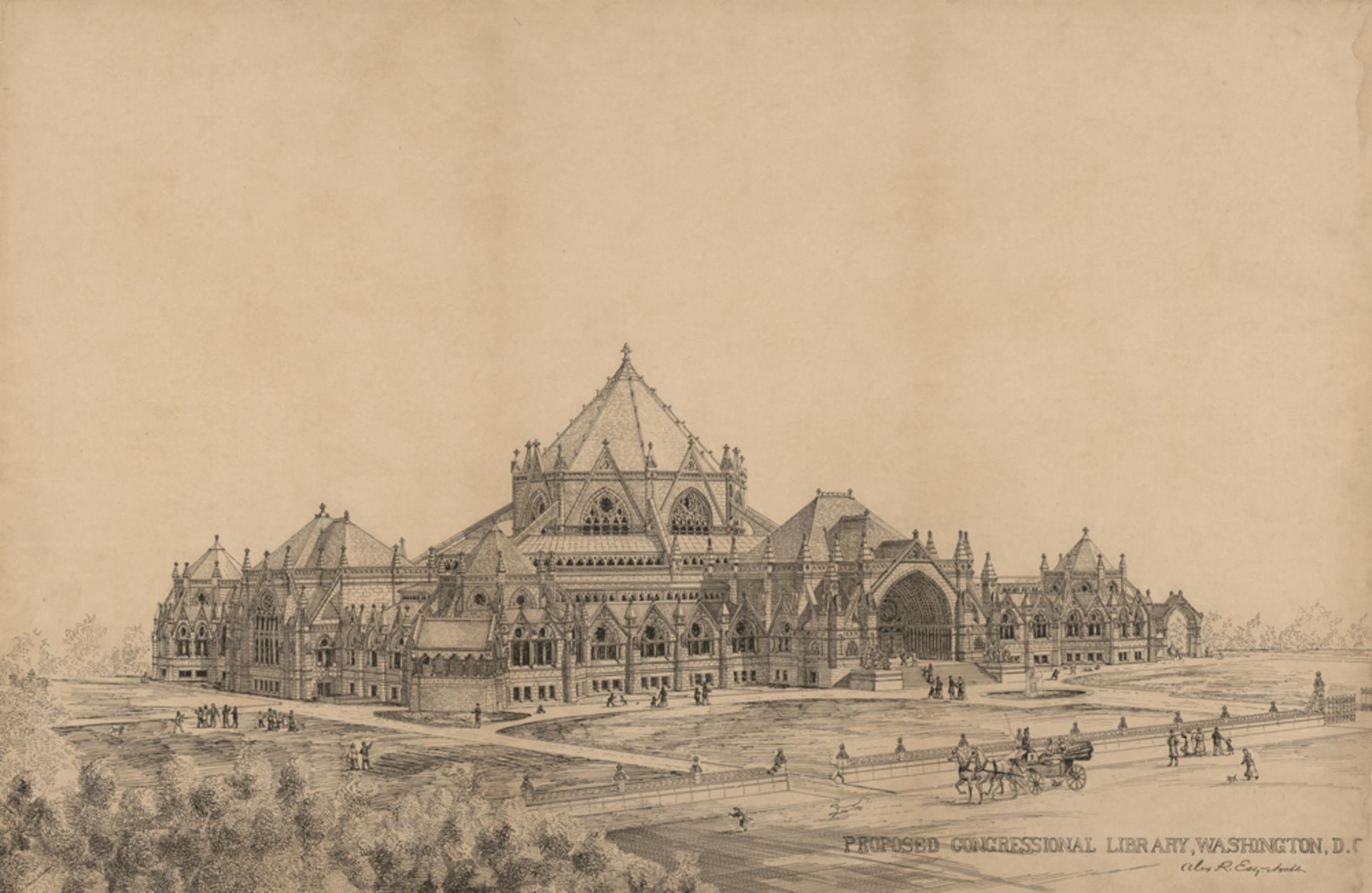 Competition entry for the Library of Congress by Alexander R. Esty, c. 1880. This proposal for the Library of Congress was an unusual application of the Gothic Revival style. Credit: Library of Congress, Prints & Photographs Division, LC-DIG-ppmsca-31519